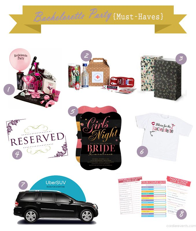 Bachelorette Party {Must-Haves} from Cordier Events - for all the maids-of-honor out there looking to plan a fun bachelorette event!