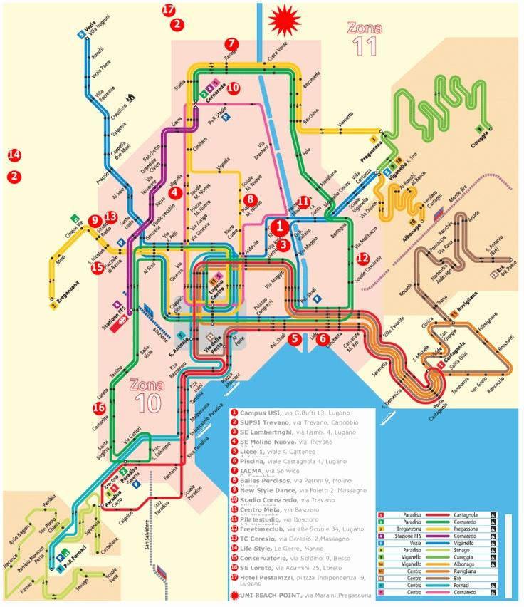 Lugano's Public Transportation map
