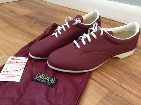 BRAND NEW Capezio Dance Shoes - Maroon Red | Womens Size 6 | Made in USA |  White Bottomed Dancing Sneakers | 1970s 1980s Vtg Dance Wear