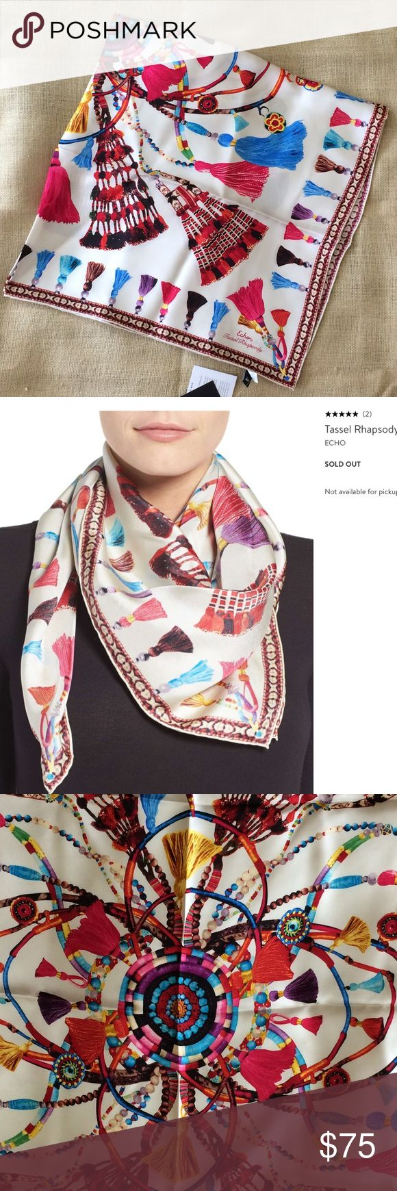 🆕LISTING Echo Tassel Rhapsody Scarf NWT. With a pattern inspired by the Himalayas, this 100%silk scarf made by artisans with a hand-rolled hem detailing will add vibrant color and artful finish to any ensemble! Echo Accessories Scarves & Wraps