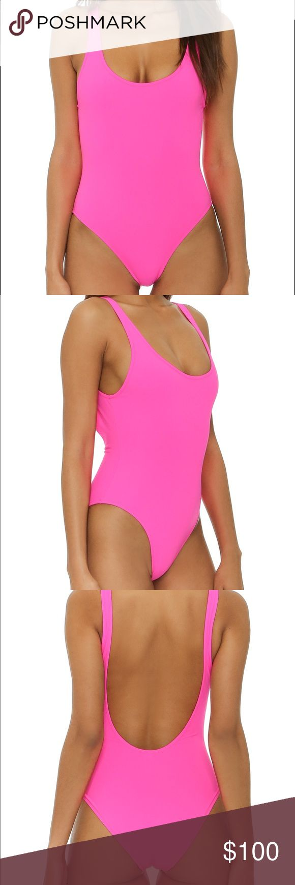 Solid and striped hot pink Anne-Marie one piece Solid and Striped hot pink one piece. NWOT. Still has hygiene liner. It is a size Large. Super cute! Wish it fit me! Solid and Striped Swim One Pieces