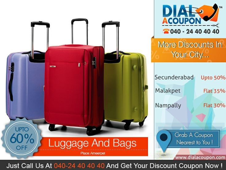 Travel In Style!  Get Range Of Stylish Bags And Luggage's With Best Deal.   Call Dial A Coupon @ 040 24 40 40 40 And Get You Discount Coupon Now.   For More Discount Deals Please Visit: www.DialACoupon.com