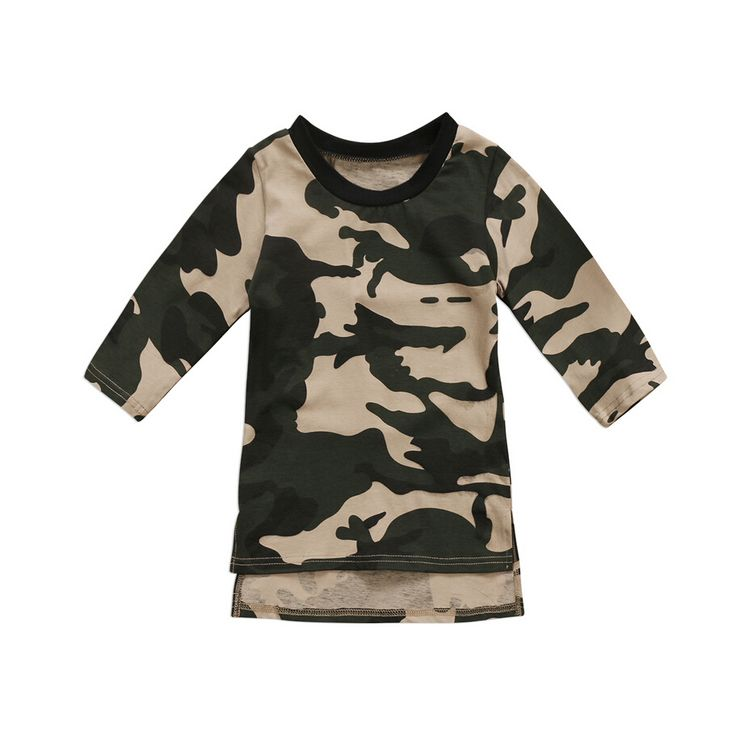 Camouflage Tops Dress Long Sleeve Warm Princess Party for Baby Girl  - $10.48