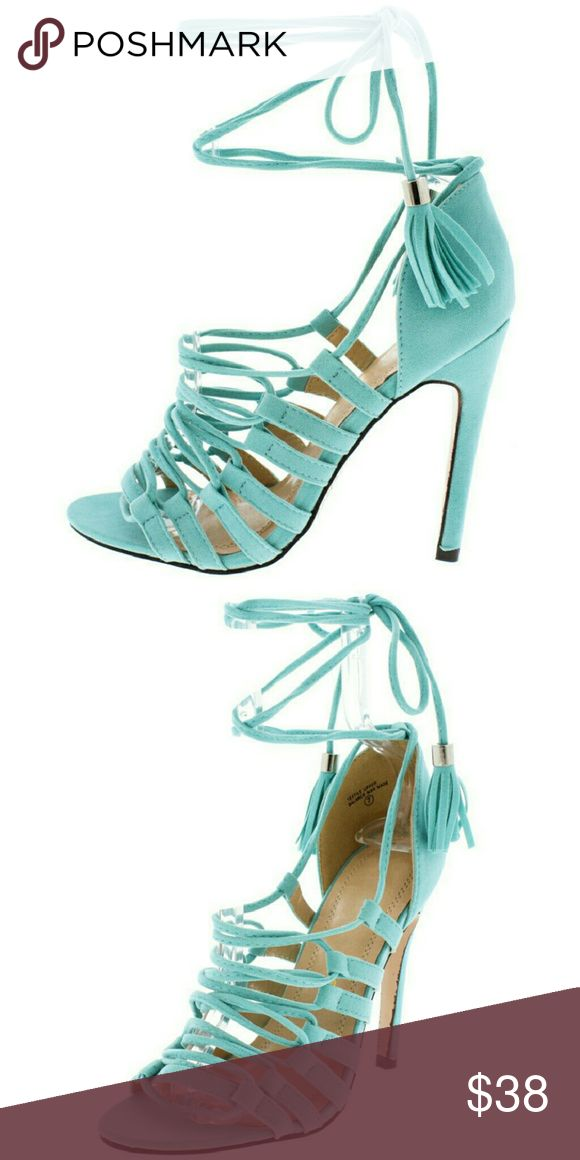 Teal blue strappy lace up heels sz 7.5 NEW New in box. Lace up strappy heels in a teal color. Sexy! Chase & Chloe  Shoes Heels