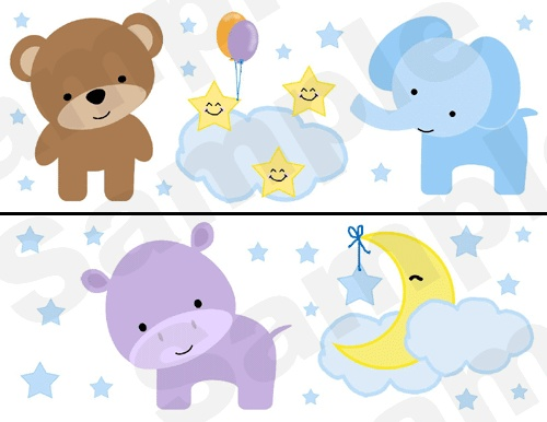 JUNGLE ZOO ANIMALS NURSERY WALL BORDER DECALS kids room baby moon stars stickers decor.