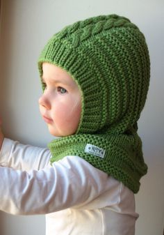 Merino Balaclava, Baby/Toddler/ Kids Hoodie Hat &Neckwarmer, Bright Green. Sizes 6-12m / 1-3-6-10 years