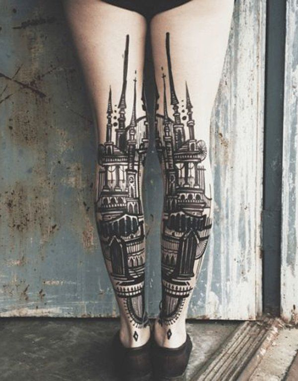 You can put a tattoo design of a palace, a church or any magnificent building you have always dreamed about visiting or you have visited and always wanted to remember. In this tattoo, it's placed on the backside and on both calves for a complete picture.