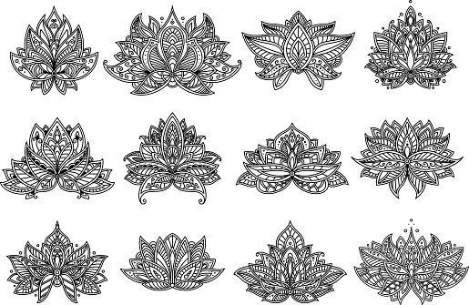 Motif cachemire Paisley et à fleurs de Mandala ensemble - Illustration vectorielle