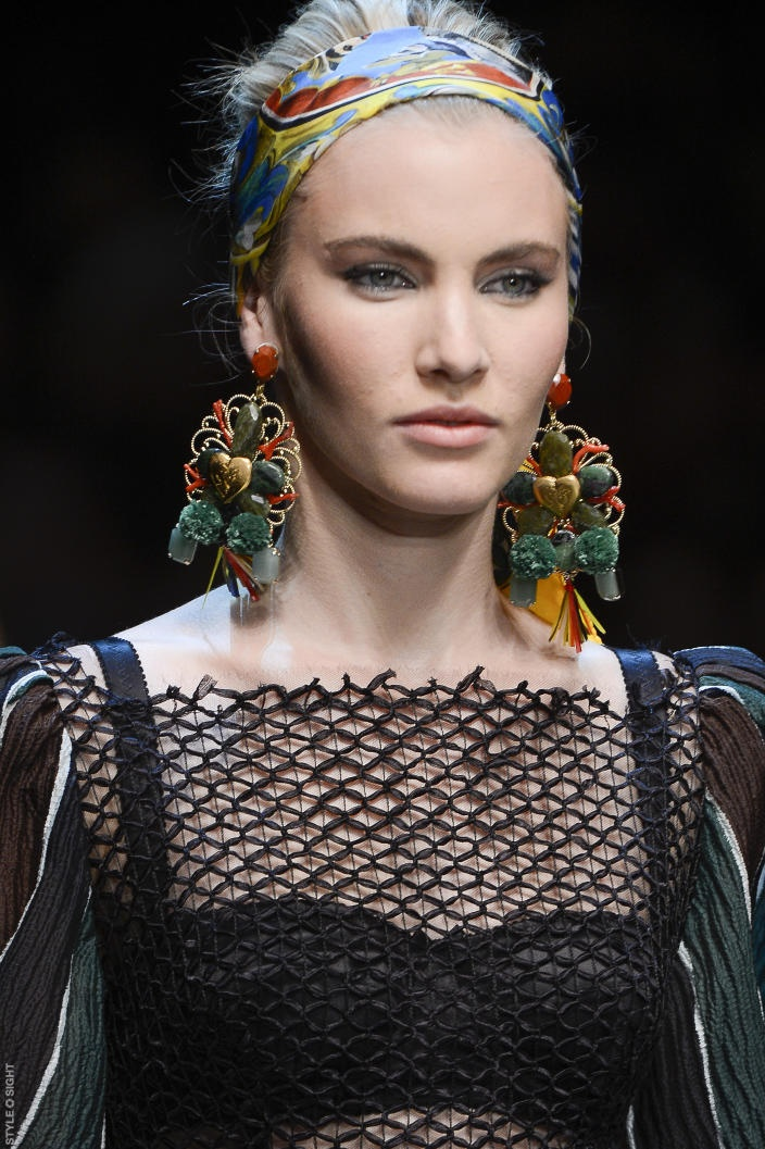Dolce and Gabbana S/S 2013 earrings in raffia, pom poms and beaded cabachons <3