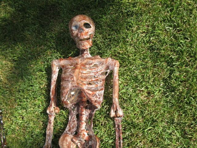 How to make a fleshy looking corpse from a fake skeleton, painting tarp, heat gun, and wood stain. Easy DIY project that produces a truly scary piece of Halloween decor. I love this way too much.