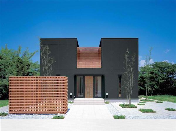 japanese modern house design- black gray paint