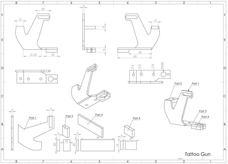 Tattoo Machine Frame Blueprints