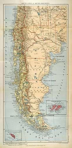 1901 Lithograph Map South Chile Argentina South Georgia Falkland Island Magellan | #vintage #map #maps #anekdotique.com