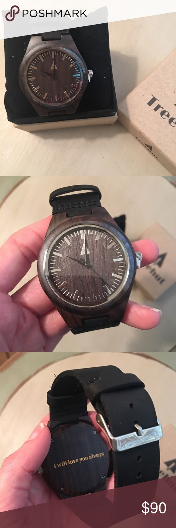 New Tree Hut men's watch. Brand new. Men's watch. Dark brown wooden face with a black band. This watch is super lightweight. I did have it engraved. Just never ended up giving it to the intended person, obviously. Lol Tree Hut Accessories Watches