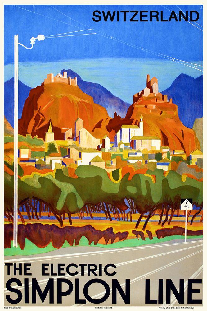 Vintage Swiss Travel Poster Valais 1930s Alpine Mountains Retro Picture Art Deco