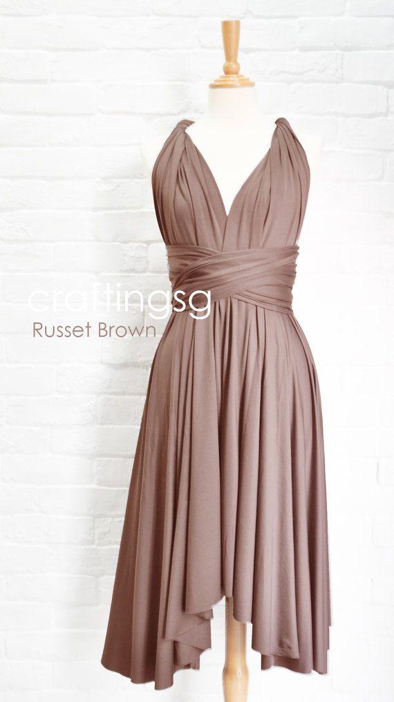 Bridesmaid Dress Infinity Dress Russet Brown Knee by craftingsg, $35.00