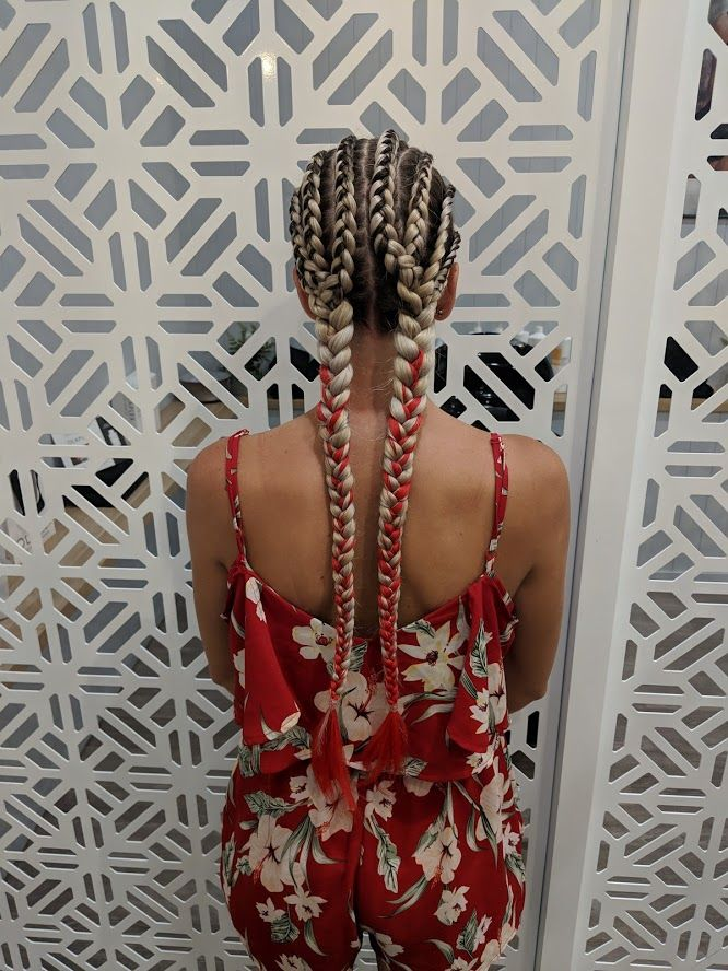Eight Cornrows Into 2 Braids Allure Hair Hair Extensions Plaits Hairstyles