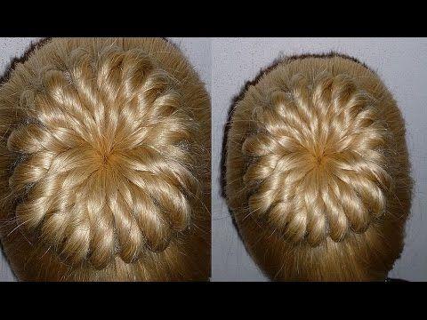 Ажурный пучок из волос.Причёска для средних и длинных волос - YouTube