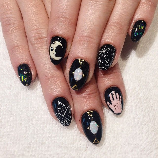 "Witchy ""Black Magic Woman"" nail art with moonstone, crescent, crystals, and other witchy imagery by Lili Nguyen"