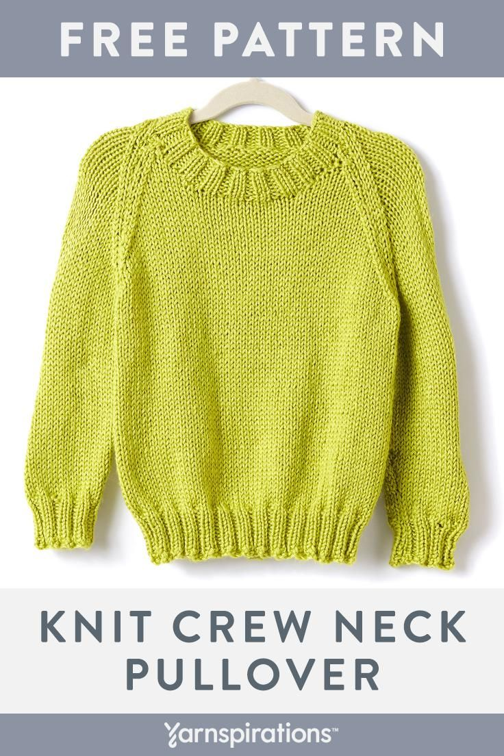 Free Knit Crew Neck Pullover Pattern | Made With Caron