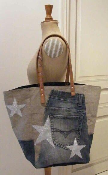 Cabas 34 Jeans,Lin et paillettes   https://m.facebook.com/Cathanne-Bag-178882108836964/