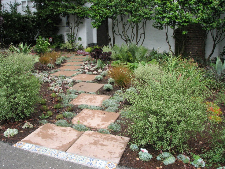 Square pavers are offset for informality and visual interest.
