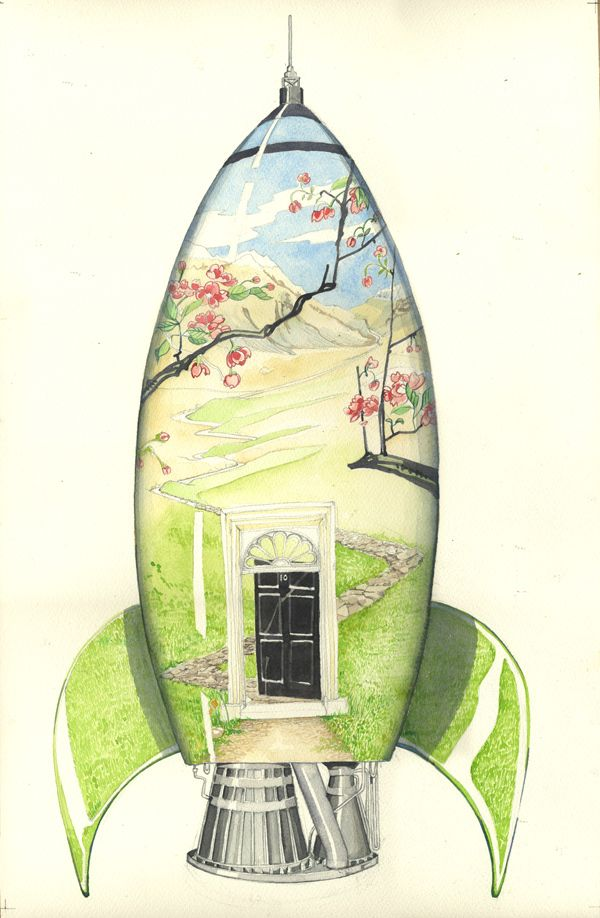 Watercolour illustration of a rocket with a landscape of mountains on it, part of Daniels Mackie's portfolio