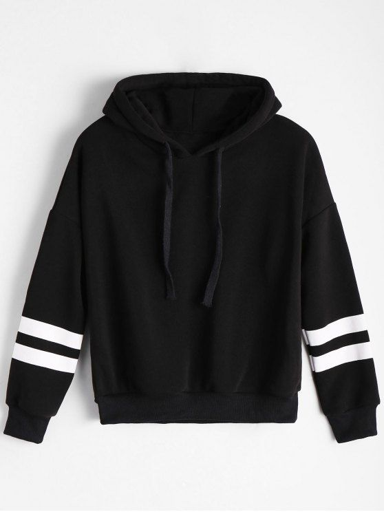 9c405fa74bb Drop Shoulder Striped Drawstring Hoodie. zaful