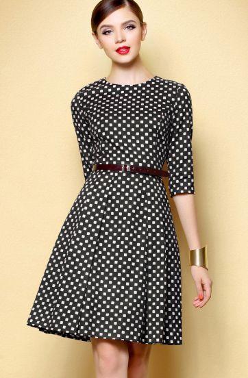 2013 Autumn Fashion Women Party Casual Hot Sale Black White Plaid Half Sleeve Slim Fashion With Belt Vestidos Female Dress