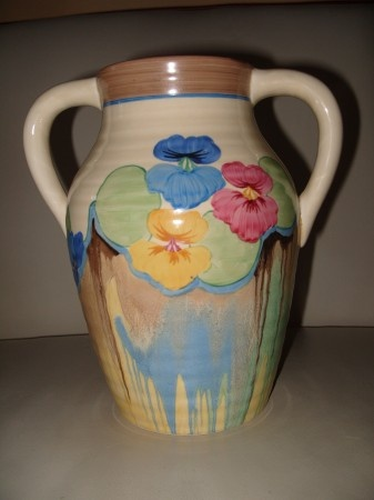 Decoskin » Clarice Cliff Pansies Double Handled 10″ Isis vase stock reference NB450