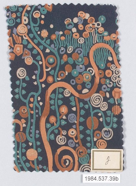 Textile Sample Gustav Klimt (Austrian, Baumgarten 1862–1918 Vienna) Manufacturer: Wiener Werkstätte