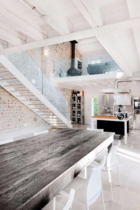 Inspiratie: industriële loft met white wash muur.