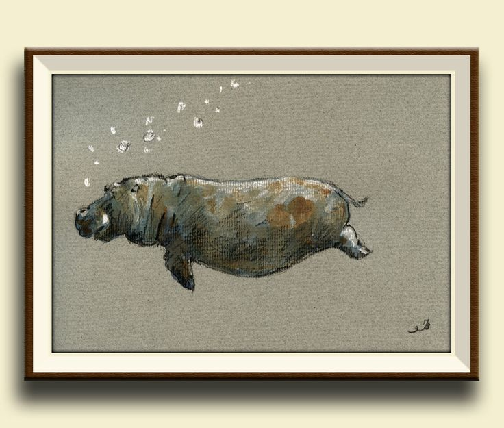 PRINT-Hippo- hippo swimming print of watercolor painting- africa safari decor- Art Print by Juan Bosco by SanMartinArtsCrafts on Etsy https://www.etsy.com/listing/182545496/print-hippo-hippo-swimming-print-of
