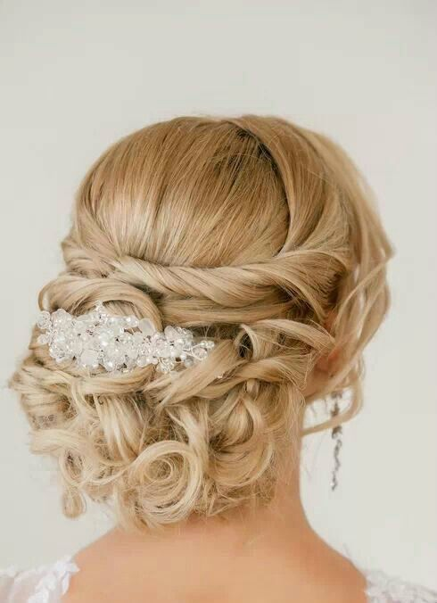 We love this beautiful bun of curls! #bridal #hair | http://hairaccessories.kira.lemoncoin.org