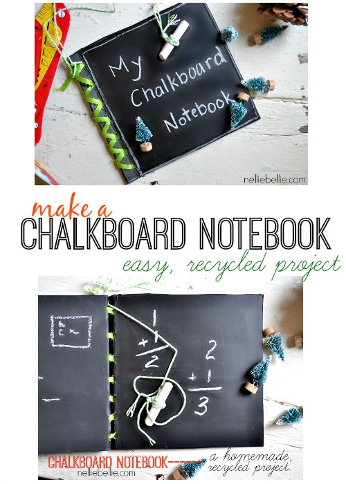 Make a chalkboard notebook with simple steps! An easy, recycled project great for kids! from NellieBellie