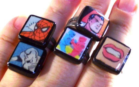 Superhero Ring Superman Ring Adjustable Handmade by ComicGoRound