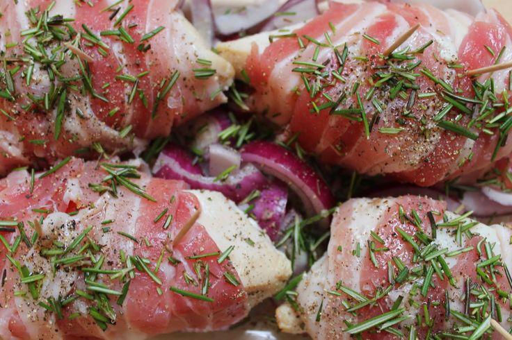 Mozzarella Stuffed Chicken Breasts. Wrapped in bacon....mmm...