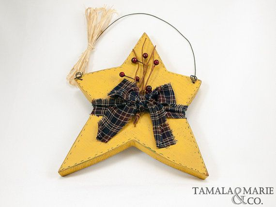 Wooden Country Primitive Star Hanging Accent  by TamalaMarie