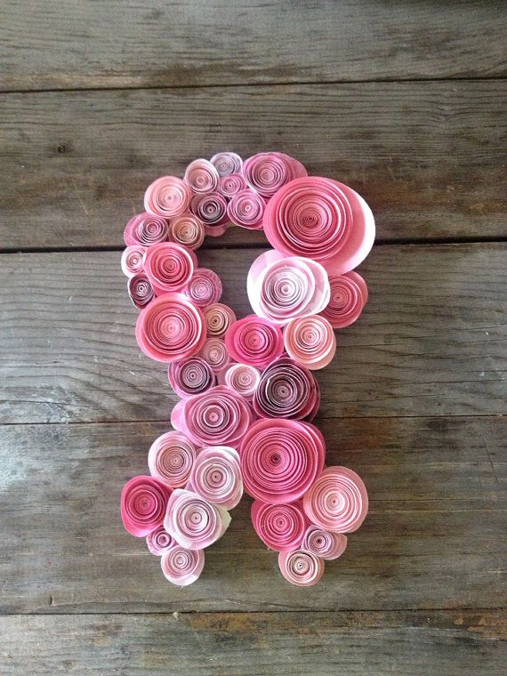 Breast cancer awareness ribbon, pink paper flowers on Etsy, $22.00