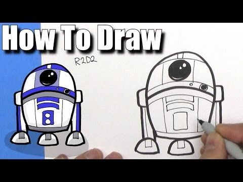 How To Draw Cute Cartoon R2D2 Droid - EASY Chibi - Step By Step - Kawaii - YouTube