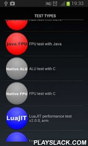 CPU Speed / Performance Test  Android App - playslack.com , Test your CPU speed & performance with this simple but powerful tool. You can test your CPU with various methods using Java ALU/FPU, Native ALU/FPU or even custom Lua scripts.For educational purposes this app may also compare different methods and see relations between them.With this performance-testing tool you can test your phone(CPU) by:★ Java ALU - tests ALU performance using operations for integer numbers called from Java…