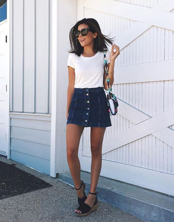 17 Best ideas about Denim Skirt Outfits on Pinterest | Jean skirts ...