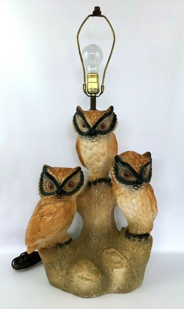 Ebay Sponsored Vintage Chalkware Owl Large Table Lamp Electric Working 70s Retro 19 X 15 2 Large Table Lamps Lamp Vintage