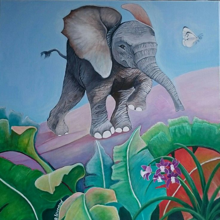 The elephant and the butterfly  Acrylics on canvas  Size: 60x60 cm