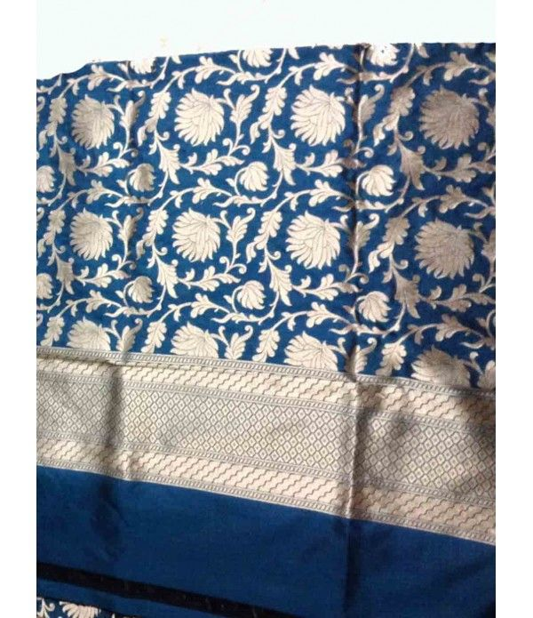 Blue Banarasi Silk Dupatta