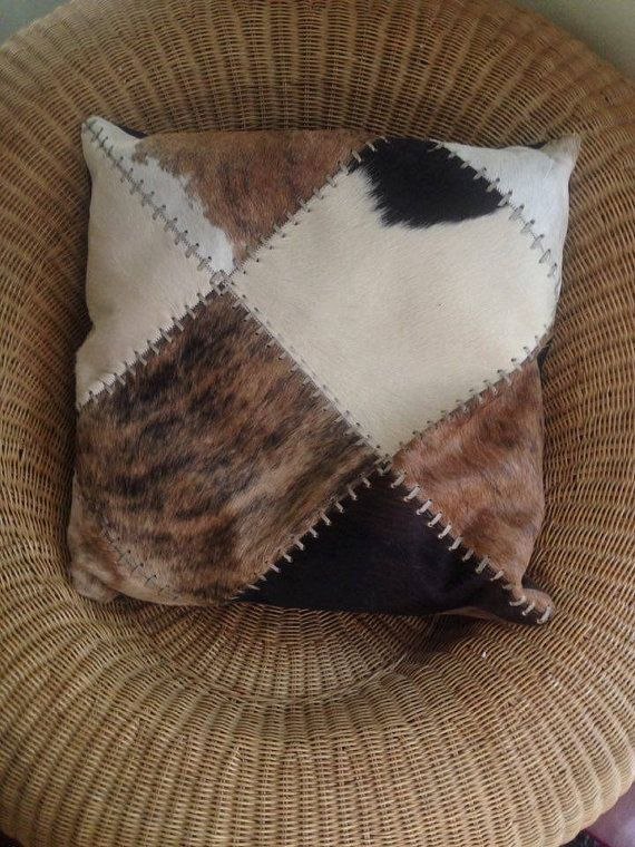 Cowhide Pillow Cover extra  large Cowhide Pillow by LikeMeTwice