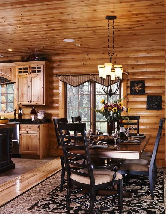 log cabin house kitchen designs | Photos of a Modern Log Cabin | Golden Eagle Log Homes - LogHome.com