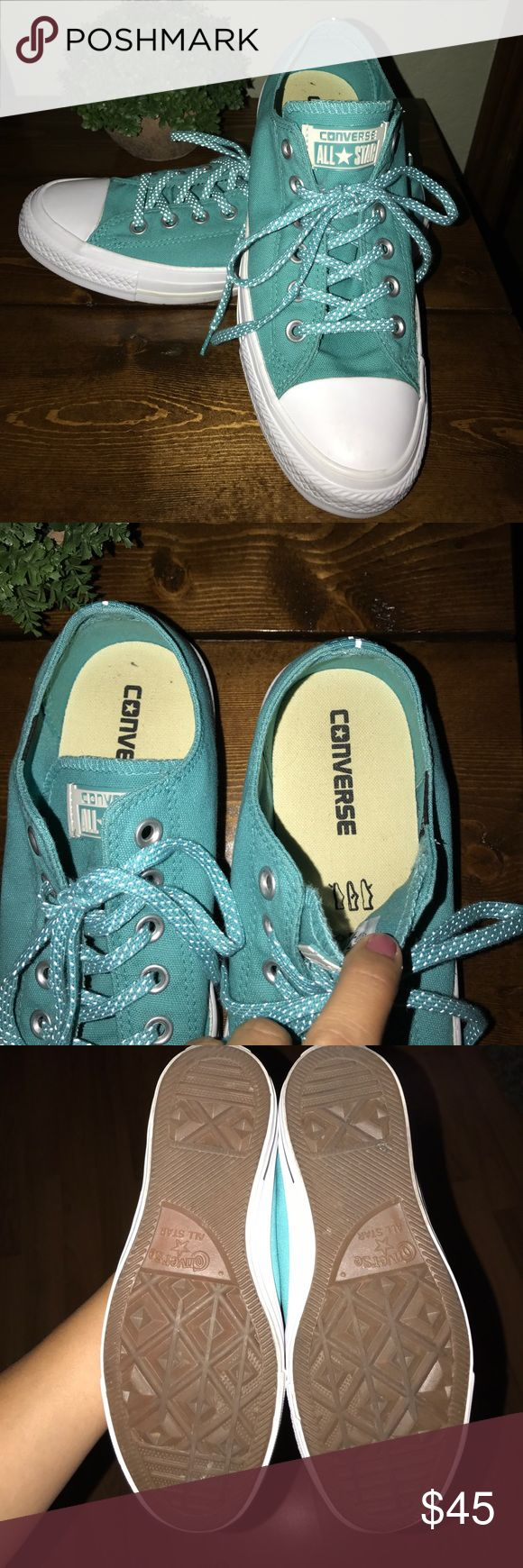 Turquoise unisex converse chucks Worn once to a Spurs game!!! Went great with the old school spurs colors pink and turquoise shirt!!!! Converse Shoes Sneakers