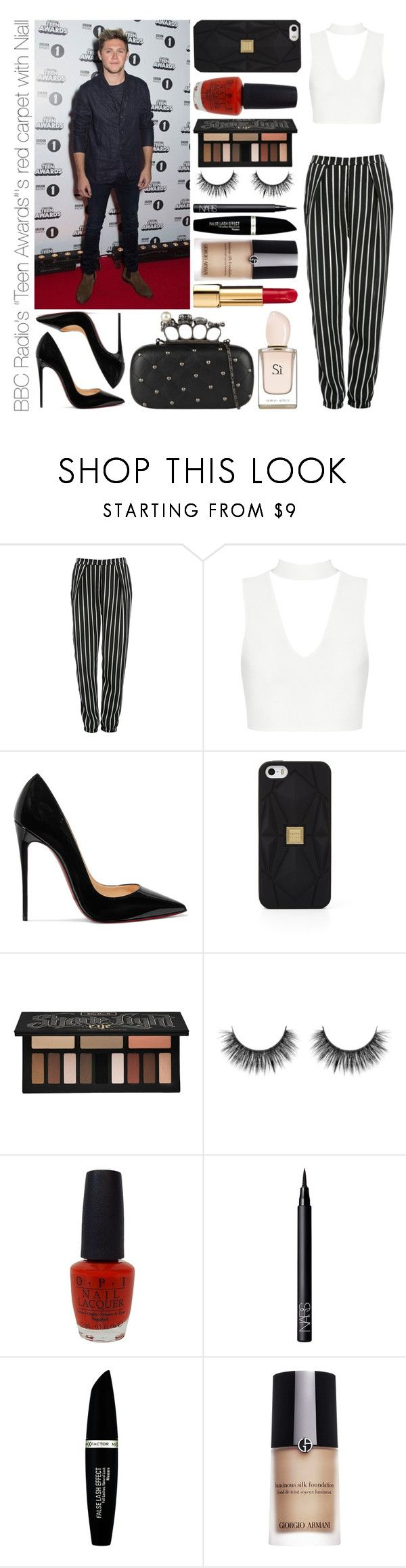 """""""BBC Radio's """"Teen Awards""""'s red carpet with Niall"""" by michaelssmile ❤ liked on Polyvore featuring Glamorous, Christian Louboutin, Hervé Léger, Kat Von D, OPI, NARS Cosmetics, Max Factor and Giorgio Armani"""