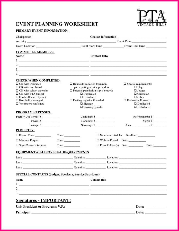 Pta Event Planning Template Google Search 5th Grade Events